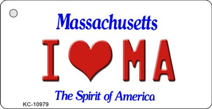 I Love MA Massachusetts State License Plate Key Chain KC-10979