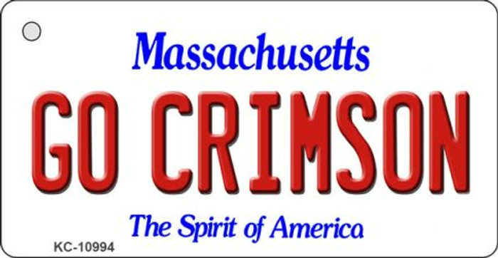 Go Crimson Massachusetts State License Plate Key Chain KC-10994