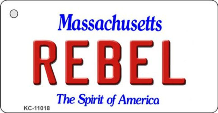 Rebel Massachusetts State License Plate Key Chain KC-11018