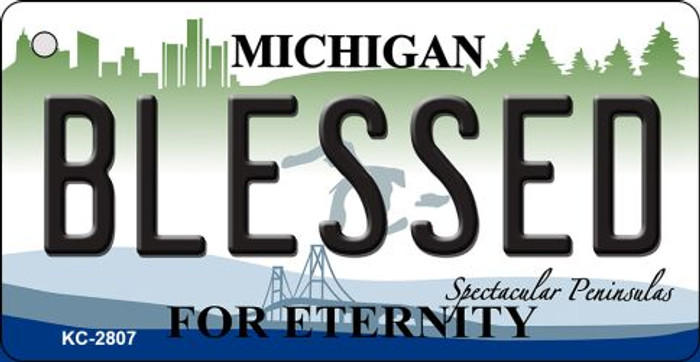 Blessed Michigan State License Plate Novelty Key Chain KC-2807