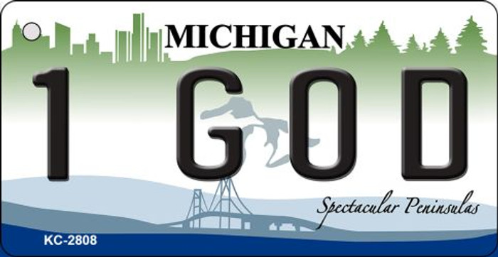 1 God Michigan State License Plate Novelty Key Chain KC-2808