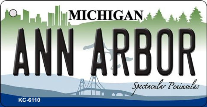 Ann Arbor Michigan State License Plate Novelty Key Chain KC-6110