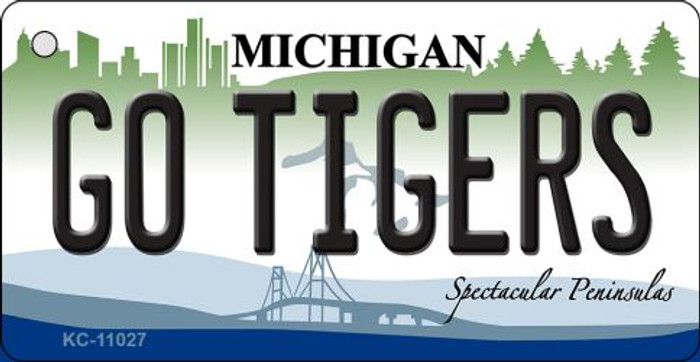 Go Tigers Michigan State License Plate Novelty Key Chain KC-11027