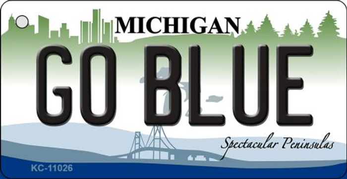 Go Blue Michigan State License Plate Novelty Key Chain KC-11026