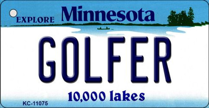 Golfer Minnesota State License Plate Novelty Key Chain KC-11075