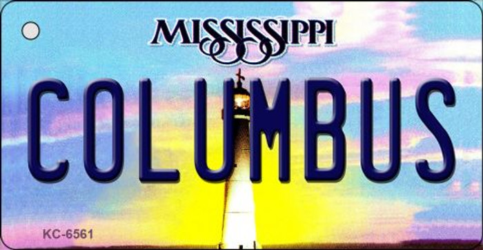Columbus Mississippi State License Plate Key Chain KC-6561