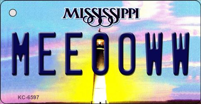 Meeooww Mississippi State License Plate Key Chain KC-6597