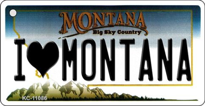 I Love Montana State License Plate Novelty Key Chain KC-11086