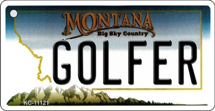 Golfer Montana State License Plate Novelty Key Chain KC-11121