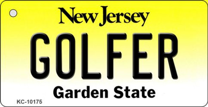 Golfer New Jersey State License Plate Key Chain KC-10175
