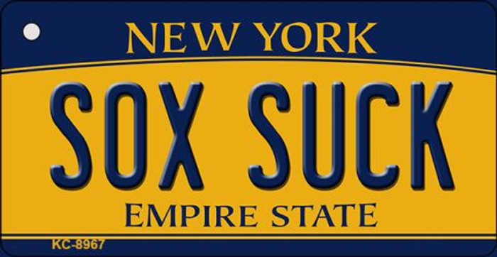 Sox Suck New York State License Plate Key Chain KC-8967