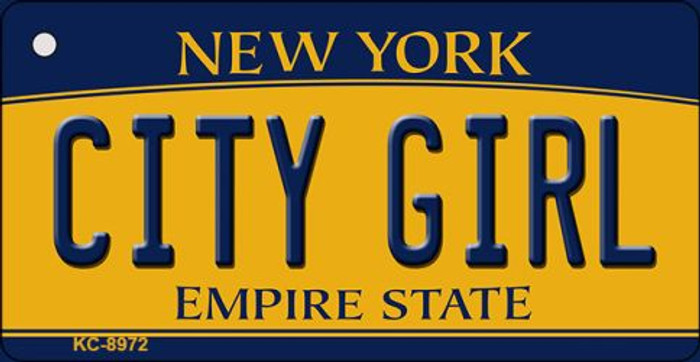 City Girl New York State License Plate Key Chain KC-8972