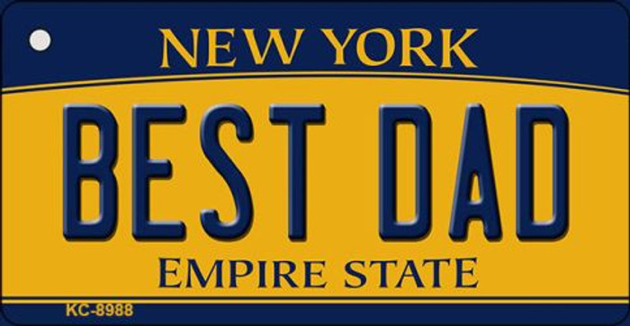 Best Dad New York State License Plate Key Chain KC-8988