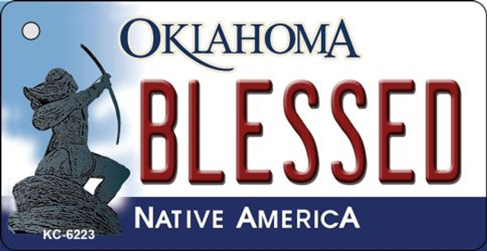 Blessed Oklahoma State License Plate Novelty Key Chain KC-6223
