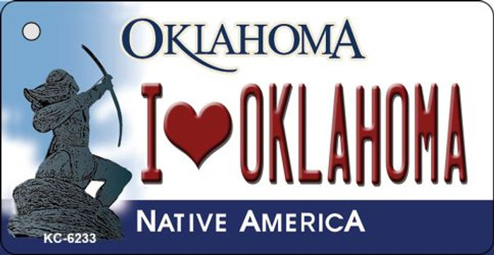 I Love Oklahoma State License Plate Novelty Key Chain KC-6233