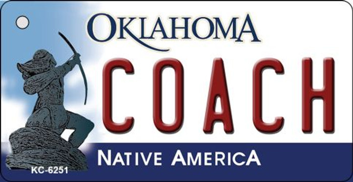 Coach Oklahoma State License Plate Novelty Key Chain KC-6251