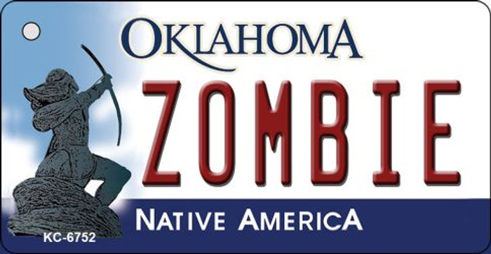 Zombie Oklahoma State License Plate Novelty Key Chain KC-6752