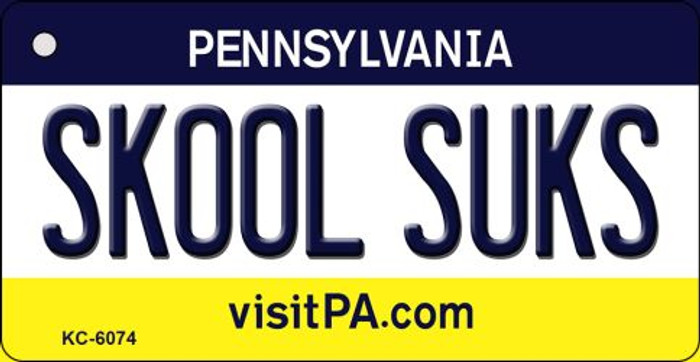 Skool Suks Pennsylvania State License Plate Key Chain KC-6074
