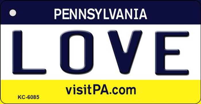 Love Pennsylvania State License Plate Key Chain KC-6085