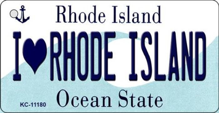 I Love Rhode Island License Plate Novelty Key Chain KC-11180