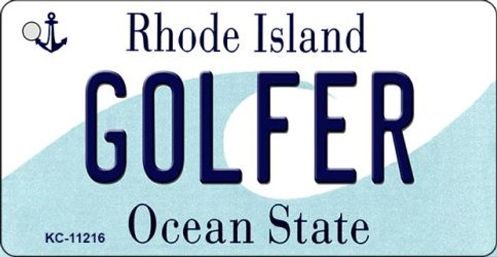 Golfer Rhode Island License Plate Novelty Key Chain KC-11216