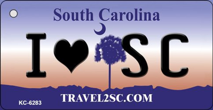 I Love SC South Carolina License Plate Key Chain KC-6283