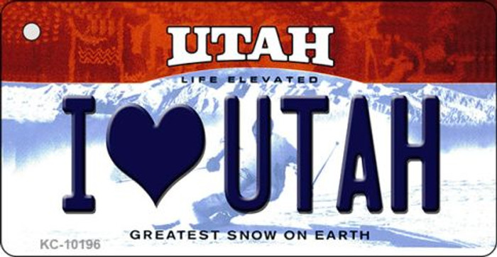 I Love Utah Utah State License Plate Key Chain KC-10196