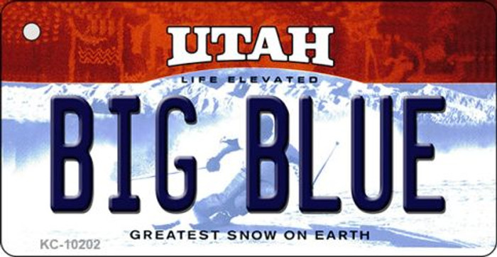 Big Blue Utah State License Plate Key Chain KC-10202