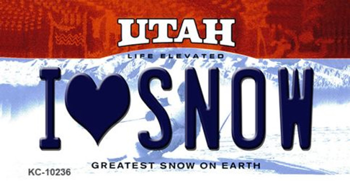 I Love Snow Utah State License Plate Key Chain KC-10236