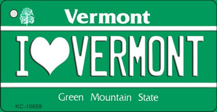 I Love Vermont License Plate Novelty Key Chain KC-10659