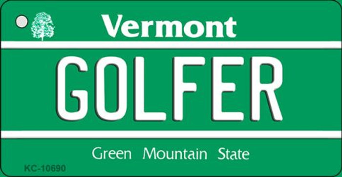Golfer Vermont License Plate Novelty Key Chain KC-10690