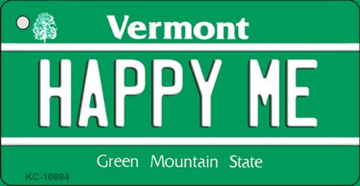 Happy Me Vermont License Plate Novelty Key Chain KC-10694
