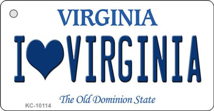 I Love Virginia State License Plate Key Chain KC-10114