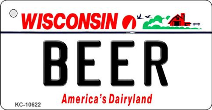 Beer Wisconsin License Plate Novelty Key Chain KC-10622