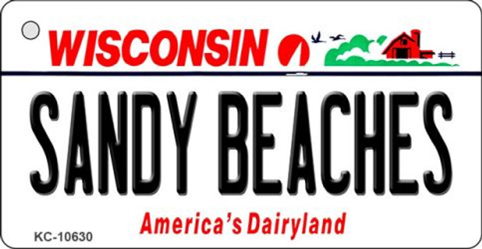 Sandy Beaches Wisconsin License Plate Novelty Key Chain KC-10630