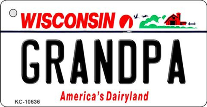 Grandpa Wisconsin License Plate Novelty Key Chain KC-10636