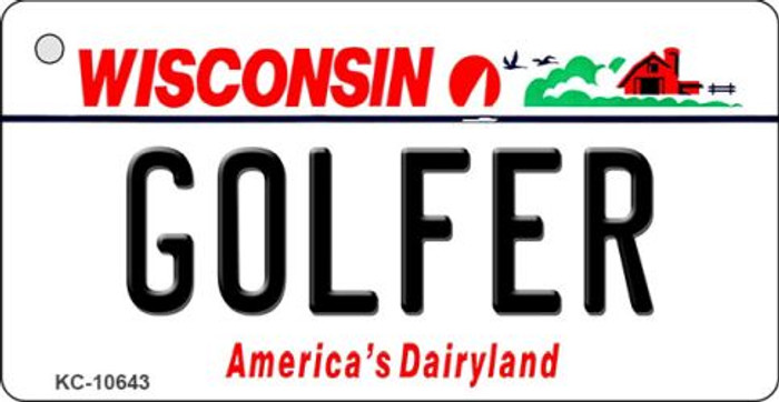 Golfer Wisconsin License Plate Novelty Key Chain KC-10643