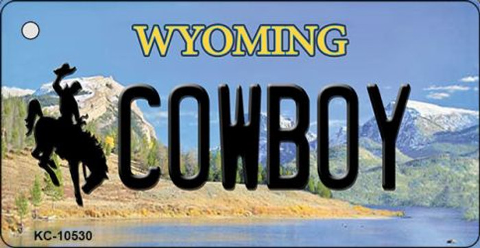 Cowboy Wyoming State License Plate Key Chain KC-10530