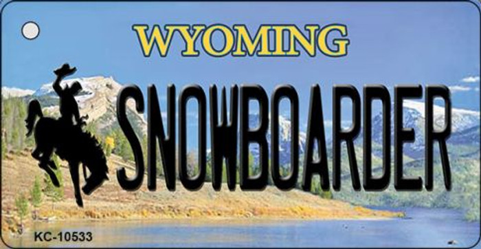 Snowboarder Wyoming State License Plate Key Chain KC-10533