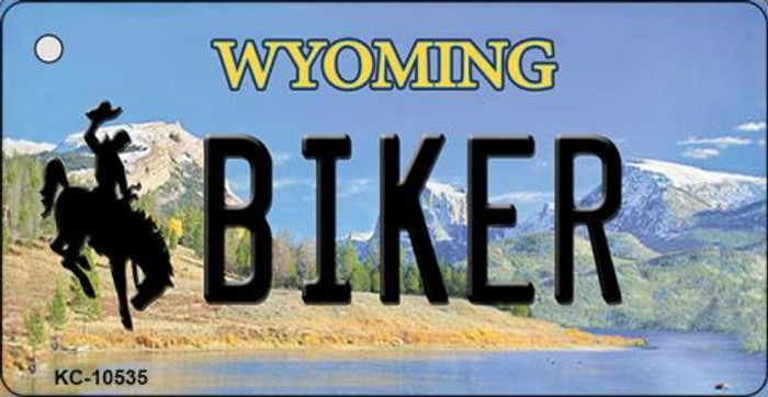 Biker Wyoming State License Plate Key Chain KC-10535