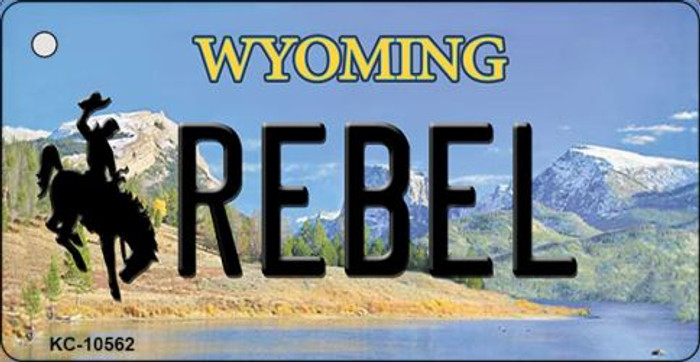 Rebel Wyoming State License Plate Key Chain KC-10562