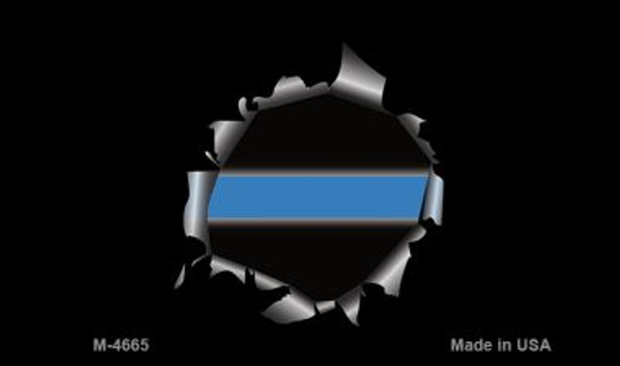 Thin Blue Line Bullethole Novelty Magnet M-4665