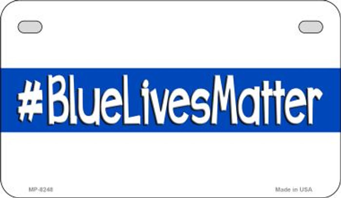 Blue Lives Matter White Novelty Motorcycle License Plate MP-8248