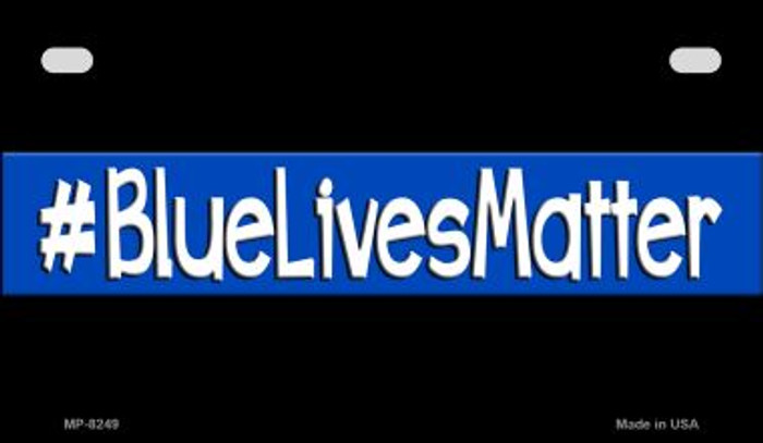 Blue Lives Matter Black Novelty Motorcycle License Plate MP-8249