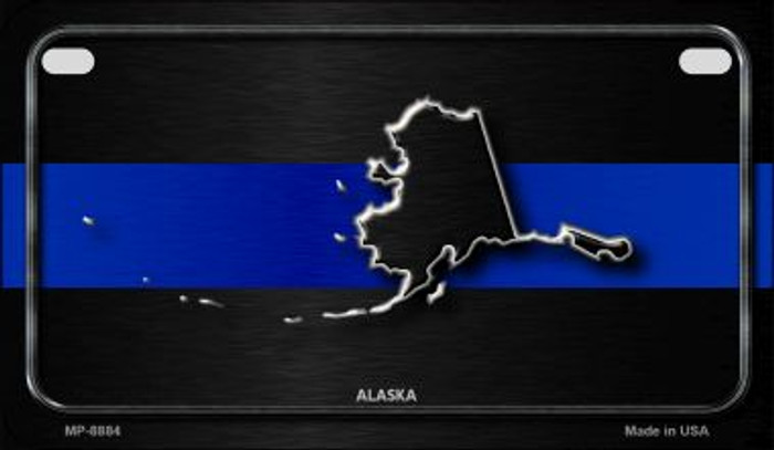 Alaska Thin Blue Line Novelty Motorcycle License Plate MP-8884