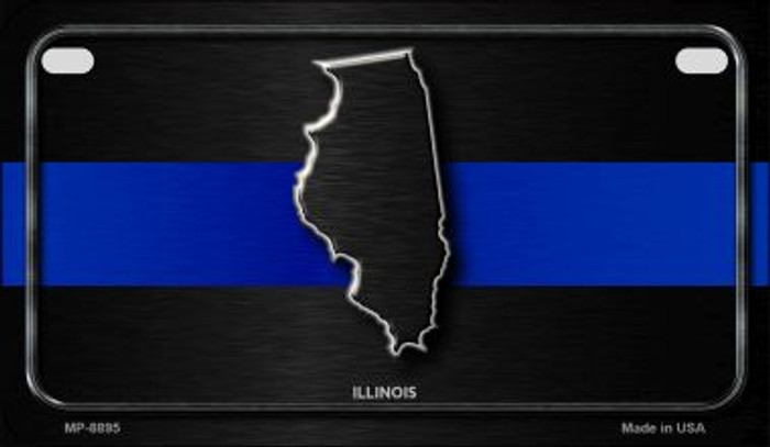 Illinois Thin Blue Line Novelty Motorcycle License Plate MP-8895