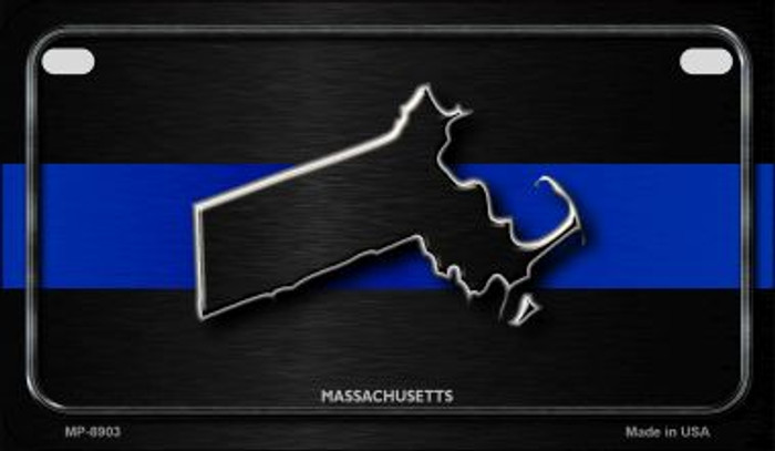 Massachusetts Thin Blue Line Novelty Motorcycle License Plate MP-8903