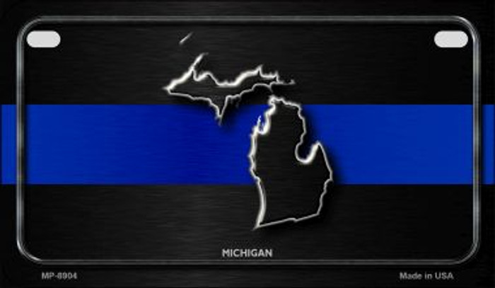 Michigan Thin Blue Line Novelty Motorcycle License Plate MP-8904