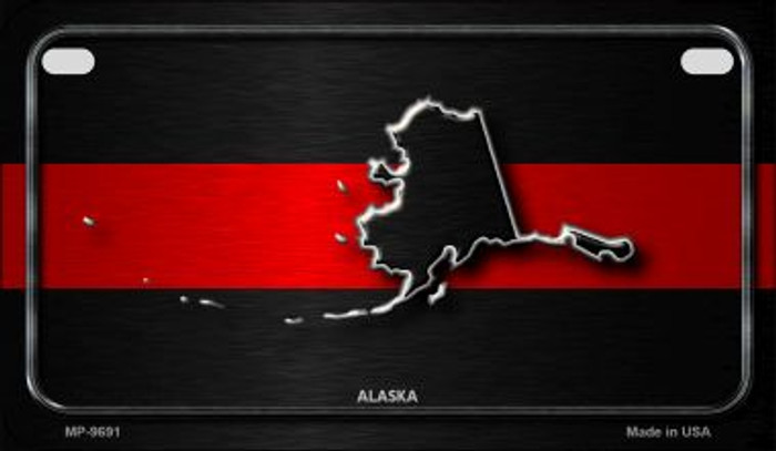 Alaska Thin Red Line Novelty Motorcycle License Plate MP-9691