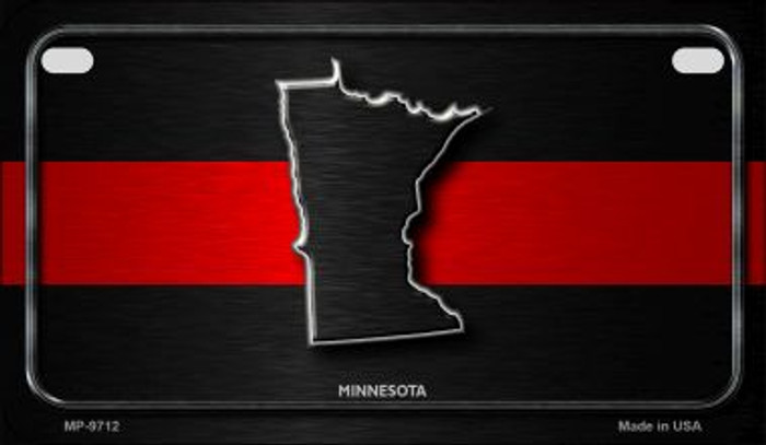 Minnesota Thin Red Line Novelty Motorcycle License Plate MP-9712